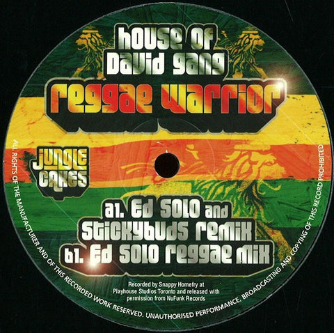 "House Of David Gang ‎– Reggae Warrior 12"" Jungle Cakes ‎– JC023"