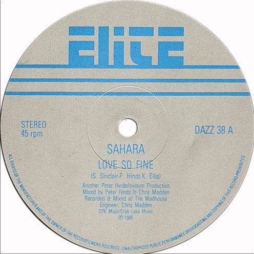 "Sahara - Love So Fine 12"" Elite DAZZ 38"