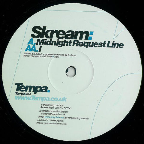 "Skream ‎– Midnight Request Line / I 12"" Tempa ‎– Tempa.014 (1st Pressing)"