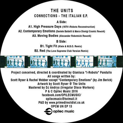 "The Units - Connections - The Italian EP 12"" Opilec Music ‎– OPCM UN EP 13"