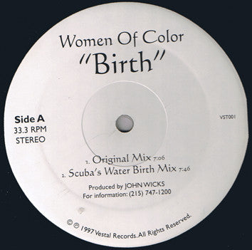 "Women Of Color - Birth 12"" Vestal Records VST001"