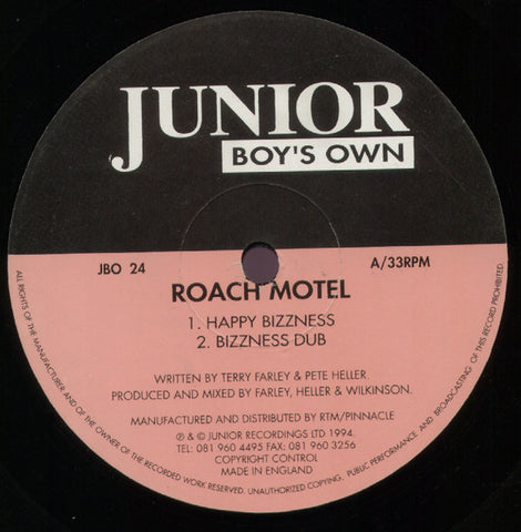 Roach Motel ‎– Happy Bizzness / Wild Luv - Junior Boy's Own ‎– JBO 24