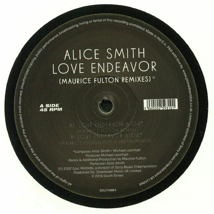 Alice Smith ‎– Love Endeavor - South Street ‎– SOUTH004