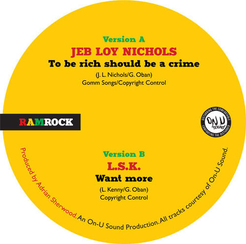 Jeb Loy Nichols / LSK - To Be Rich Should Be A Crime - Ramrock ‎– RR001