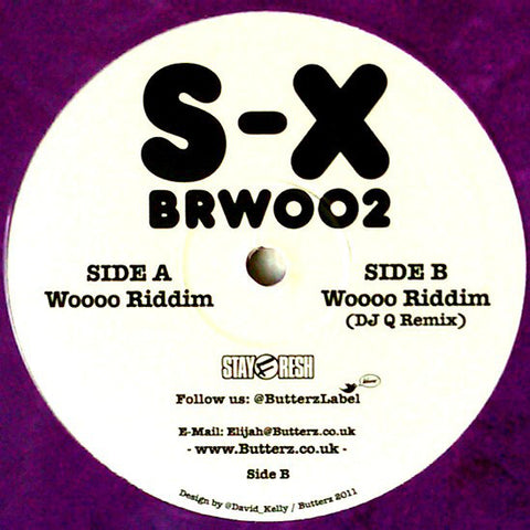 "S-X ‎– Woooo Riddim 12"" Butterz StayFresh ‎– BRW002 (Purple Limited Vinyl 2011)"