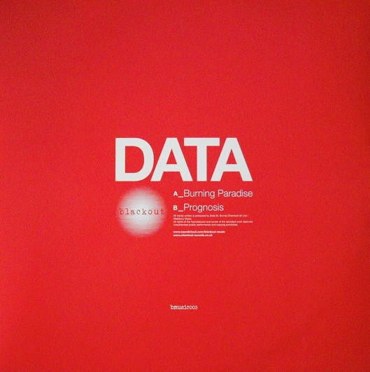 "Data - Burning Paradise 12"" Blackout Music bmusic003"