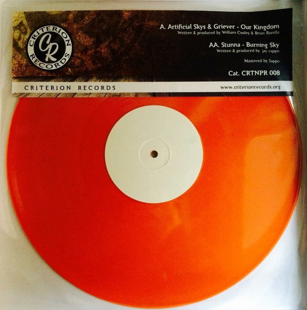 "Artificial Skys & Griever / Stunna - Our Kingdom / Burning Sky 12"" Orange Criterion Records CRTNPR 008"