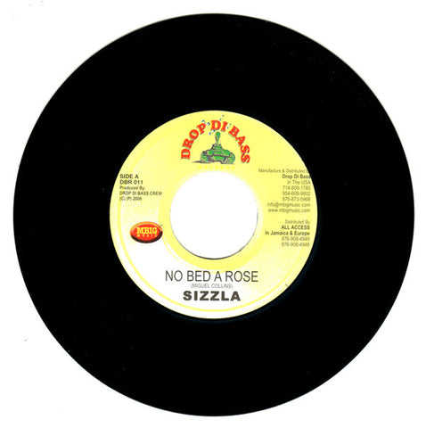 "Sizzla, Likwid - No Bed A Rose / Drive In Pass 7"" DBR011 Drop Di Bass Records"