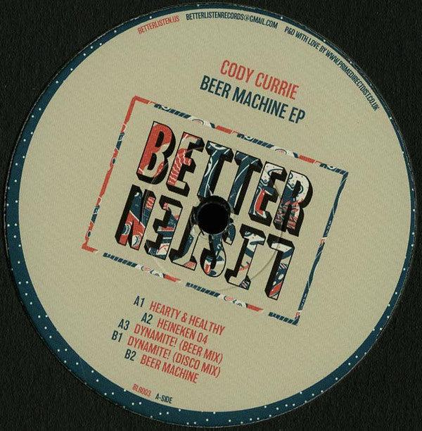 "Cody Currie ‎– Beer Machine EP 12"" Better Listen Records ‎– BLR003"