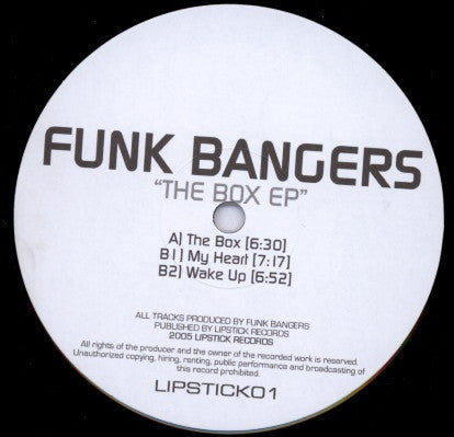 "Funk Bangers - The Box EP 12"" Lipstick Records LIPSTICK01"