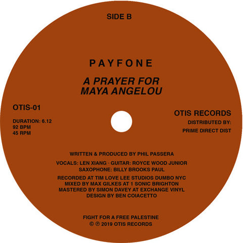 Payfone ‎– I Was In New York - Otis Records - OTIS-01