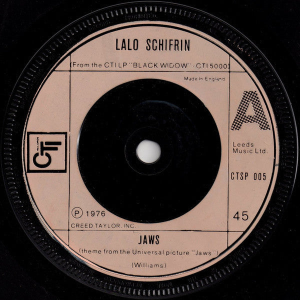 "Lalo Schifrin ‎– Jaws 7"" CTI Records ‎– CTSP 005"