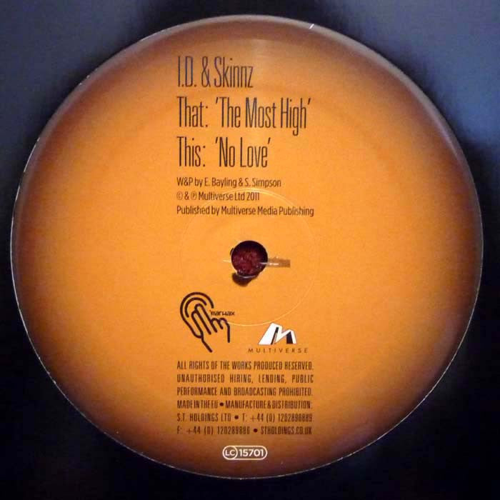 "I.D. & Skinnz - The Most High / No Love 12"" Earwax EAR015"