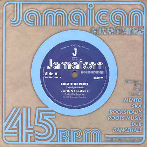 "Johnny Clarke ‎– Creation Rebel 7"" Jamaican Recordings ‎– JR7028"