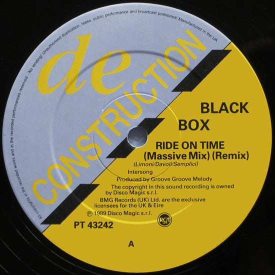 "Black Box - Ride On Time (Remix) 12"" Deconstruction, RCA PT 43242"