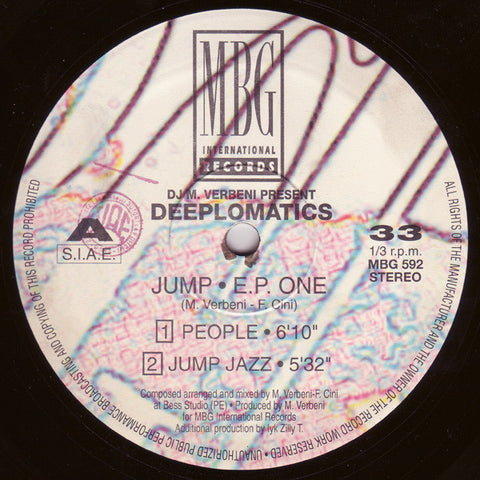 "DJ M Verbeni Present Deeplomatics ‎– Jump EP One 12"" MBG International Records ‎– MBG 592"