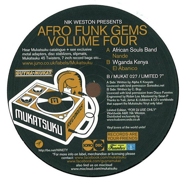 "Nik Weston Presents African Souls Band / Wganda Kenya ‎– Afro Funk Gems Volume Four 7"" Mukatsuku Records ‎– MUKAT 027"