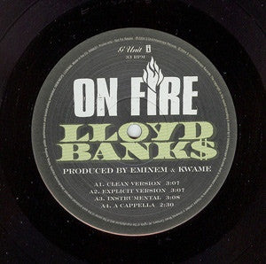 "Lloyd Banks - On Fire 12"" G Unit, Interscope Records BANKS1"