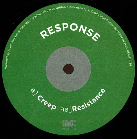 "Response ‎– Creep / Resistance 12"" Ingredients Records ‎– RECIPE036"