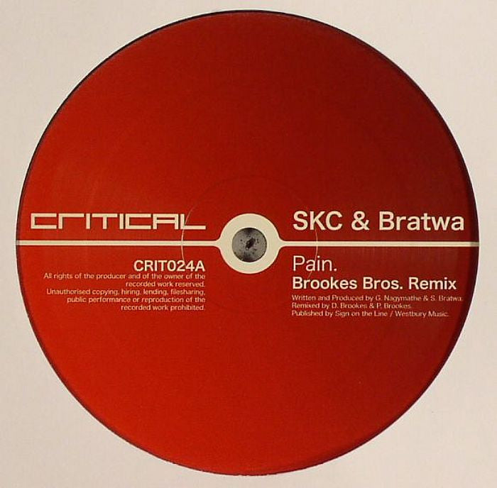 "SKC & Bratwa / Futurebound - Pain (Brookes Bros. Remix) / Fritenight 12"" Critical Recordings CRIT024"