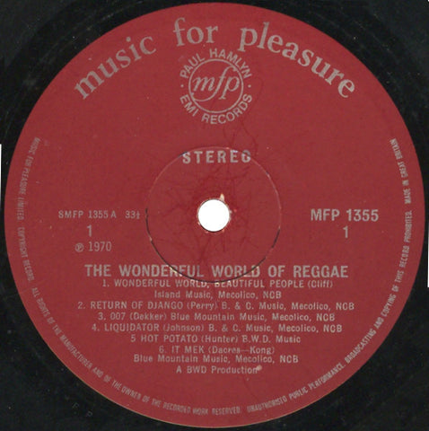"Unknown Artist ‎– The Wonderful World Of Reggae 12"" Music For Pleasure ‎– MFP 1355"