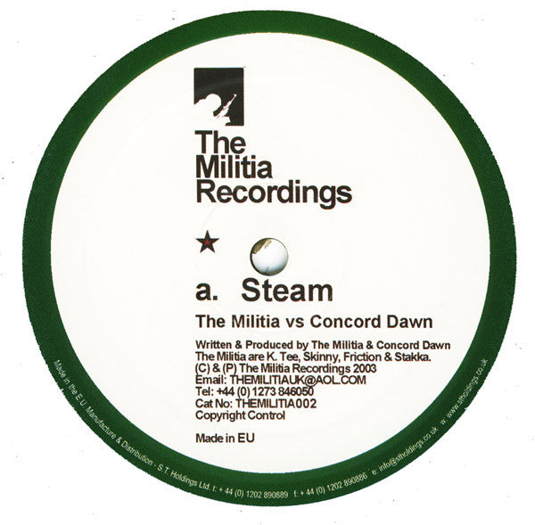 "The Militia, Concord Dawn - Steam / Rail Road 12"" THEMILITIA002 The Militia Recordings"