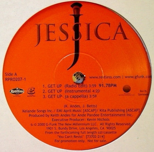 "Jessica - Get Up 12"" Restless Records, G-Funk Music RPRO207-1"