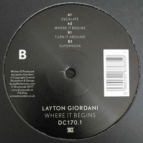 "Layton Giordani ‎– Where It Begins 12"" Drumcode ‎– DC170.1"