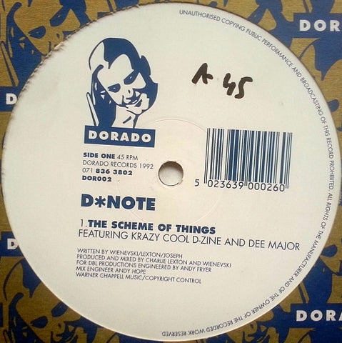 "D*Note - The Scheme Of Things 12"" Dorado DOR002, 071 836 3802"
