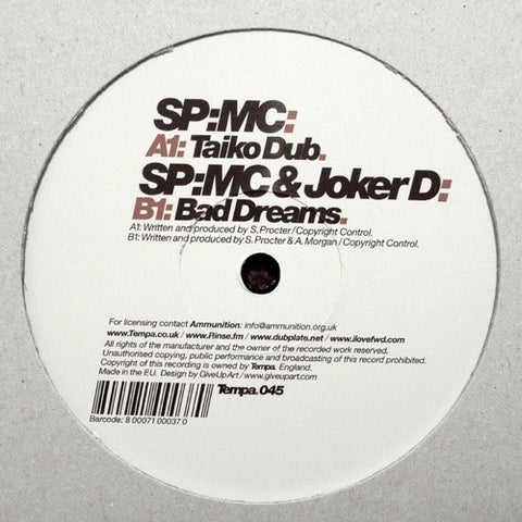 "SP:MC - Taiko Dub / Bad Dreams 12"" Tempa ‎– Tempa.045"
