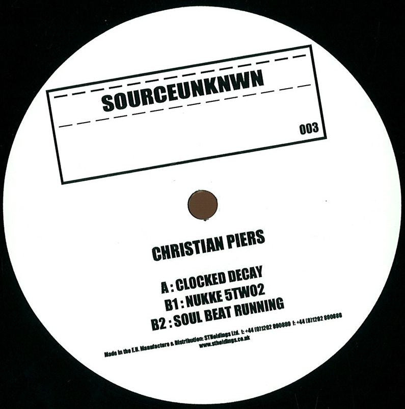 "Christian Piers ‎– Clocked Decay 12"" SOURCEUNKNWN ‎– SU003"