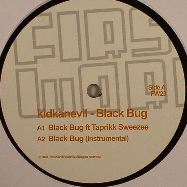 "Kidkanevil - Black Bug 12"" First Word Records FW23"