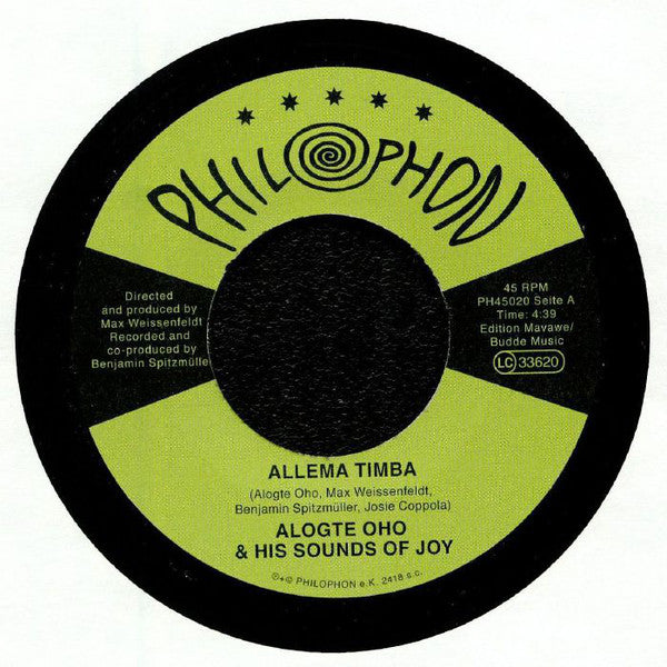 Alogte Oho & His Sounds of Joy ‎– Allema Timba - Philophon ‎– PH45020