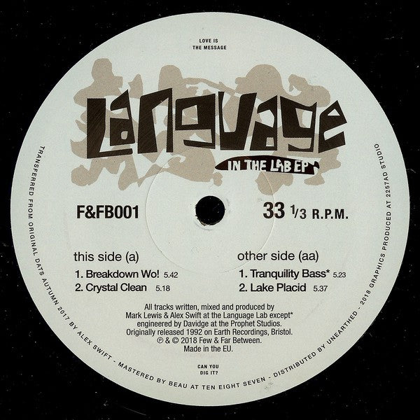 Language - In The Lab EP - Few & Far Between ‎– F&FB001