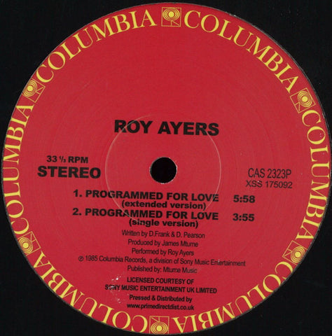 "Roy Ayers ‎– Programmed For Love 12"" Columbia ‎– CAS 2323P"