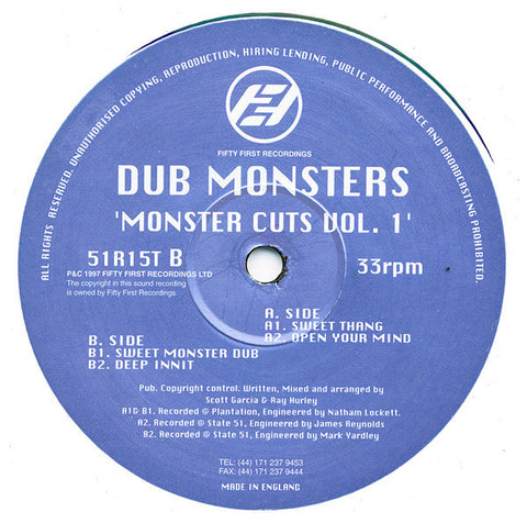 "The Dub Monsters ‎– Monster Cuts Vol 1 12"" Fifty First Recordings ‎– 51R15T"