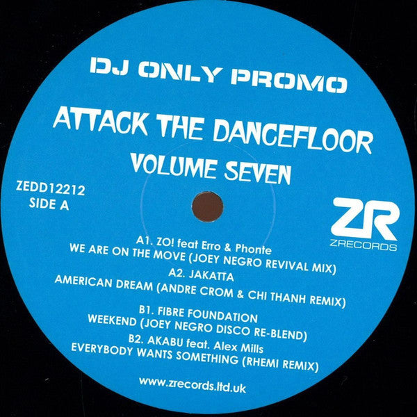 "Various ‎– Attack The Dancefloor Volume Seven 12"" Z Records ‎– ZEDD12212"