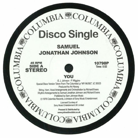 Samuel Jonathan Johnson ‎– You / My Music - Columbia ‎– 10798P