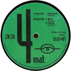 "4 Mat ‎– Activated 12"" Dance Record ‎– ELEC 107"