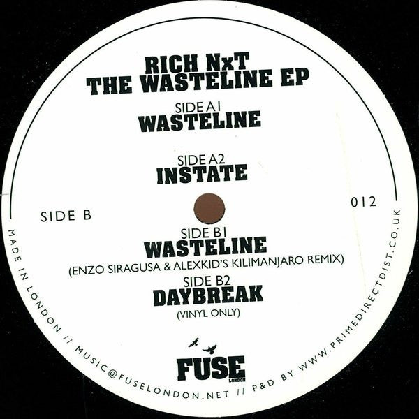 "Rich NxT - The Wasteline EP 12"" Fuse London FUSE012"