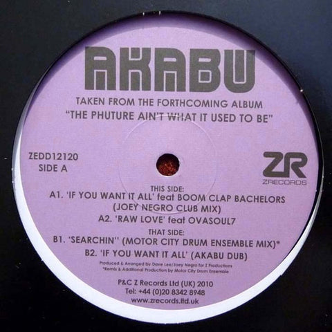 "Joey Negro Presents Akabu ‎– If You Want It All 12"" Z Records ‎– ZEDD12120"