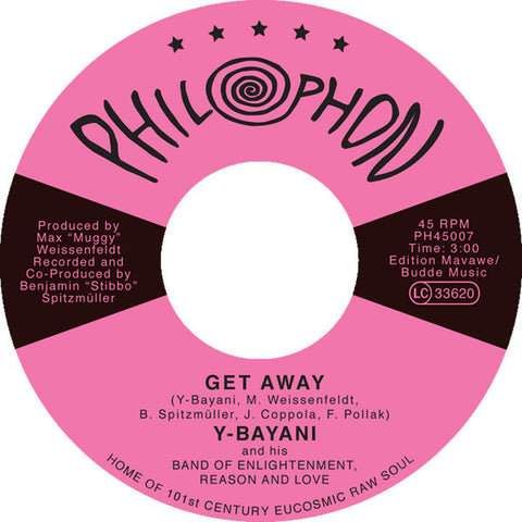 "Y-Bayani ‎– Get Away b/w Obar No Ni 7"" Philophon ‎– PH45007"