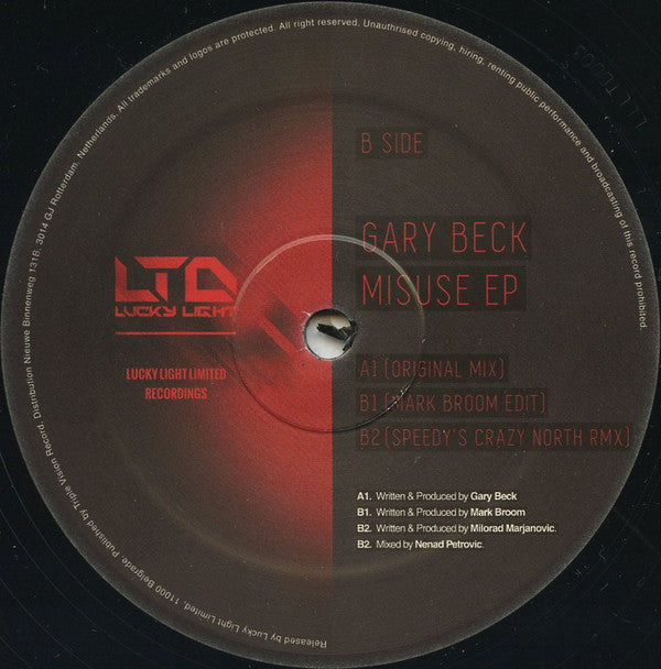 "Gary Beck ‎– Misuse EP 12"" Lucky Light Limited ‎– LLLTD003"