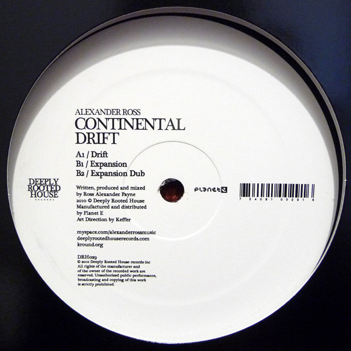 "Alexander Ross - Continental Drift 12"" Deeply Rooted House DRH029"