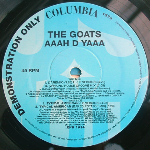 "The Goats - AAAH D YAAA 12"" Columbia XPR 1914"