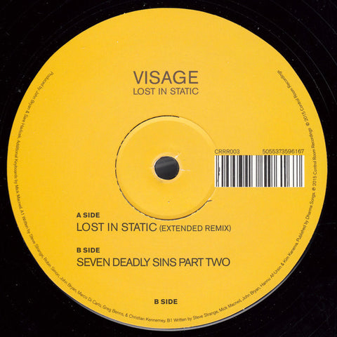 "Visage ‎– Lost In Static 12"" Control Room Recordings ‎– CRRR003"