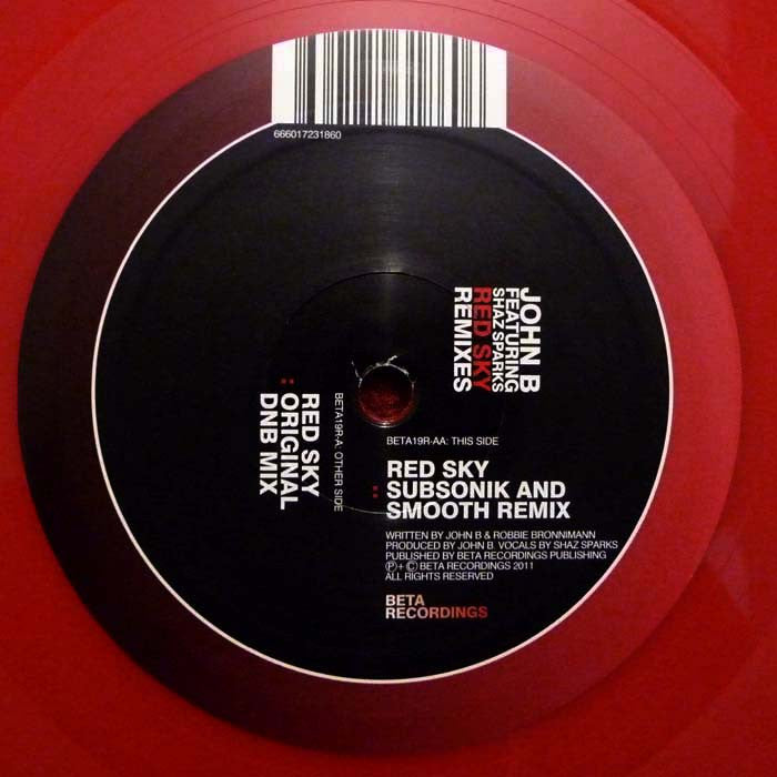 "John B Featuring Shaz Sparks - Red Sky (Remixes) 12"" Beta Recordings BETA19R"