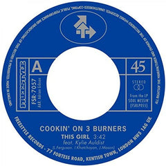 "Cookin' On 3 Burners ‎– This Girl / Four 'N Twenty 7"" Freestyle Records - FSR-7057"