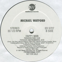 "Michael Watford - Happy Man 12"" EastWest Records America ED 5727"