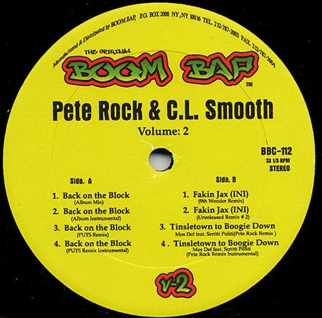 "Pete Rock & C.L. Smooth - Volume: 2 12"" Boom Bap BBC-112"
